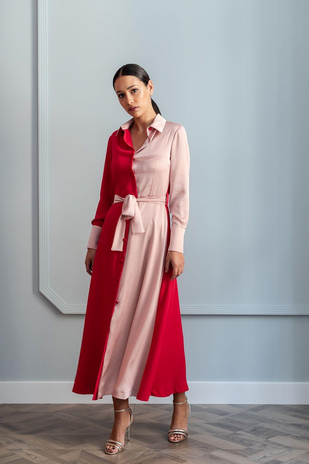52967f5555 Vestido camisero de corte midi bicolor confeccionado en crepe rojo y rosa