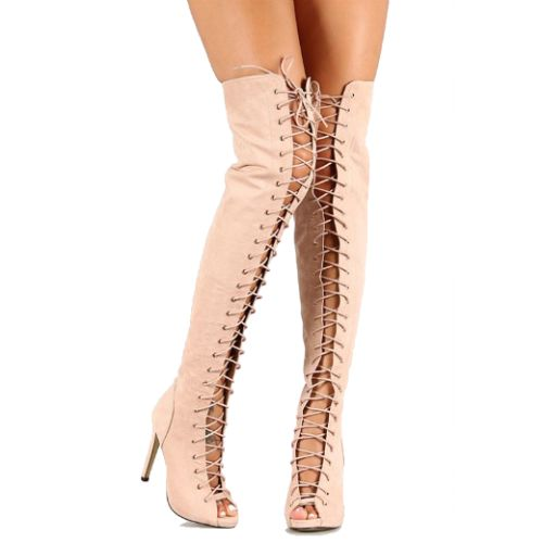 Nude Suede Peep toe Thigh-high Lace up #Boots Stiletto #Heels ...