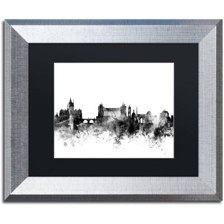 Trademark Fine Art Rome Italy Skyline B Canvas Art by Michael Tompsett, Black Matte, Silver Frame, Size: 11 x 14, Gray