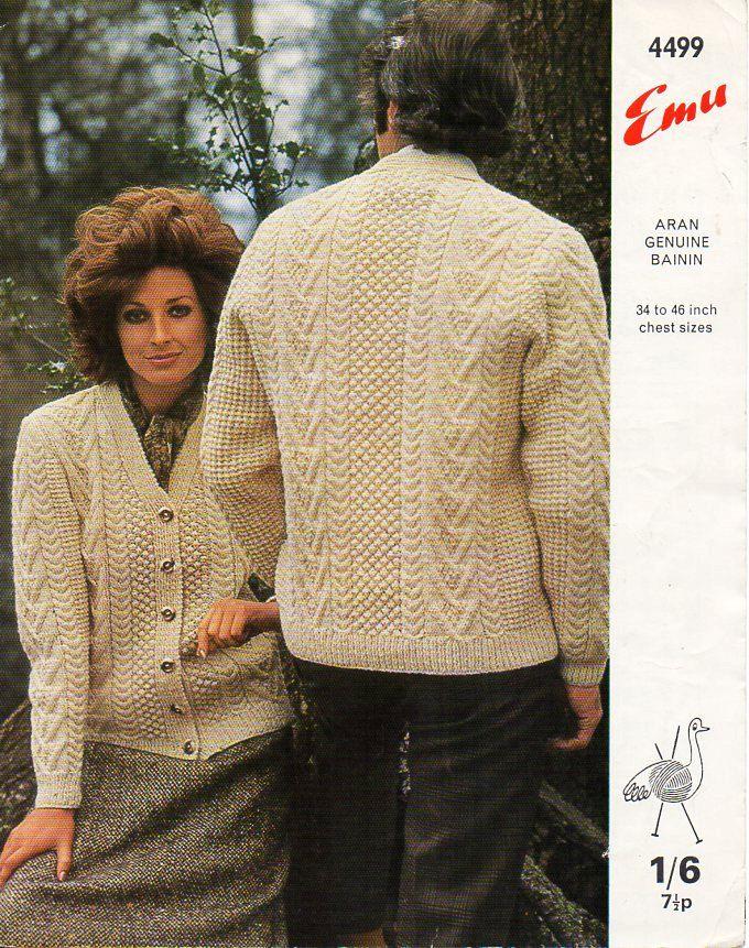 Knitting Pattern For Ladies Aran Sweater : Womens mens aran knitting pattern pdf download