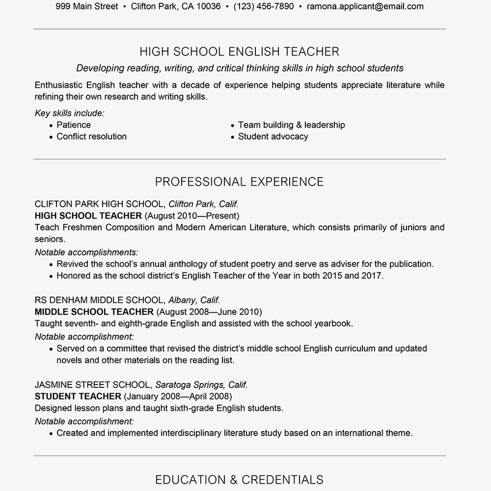 On Resume Examples Teaching resume