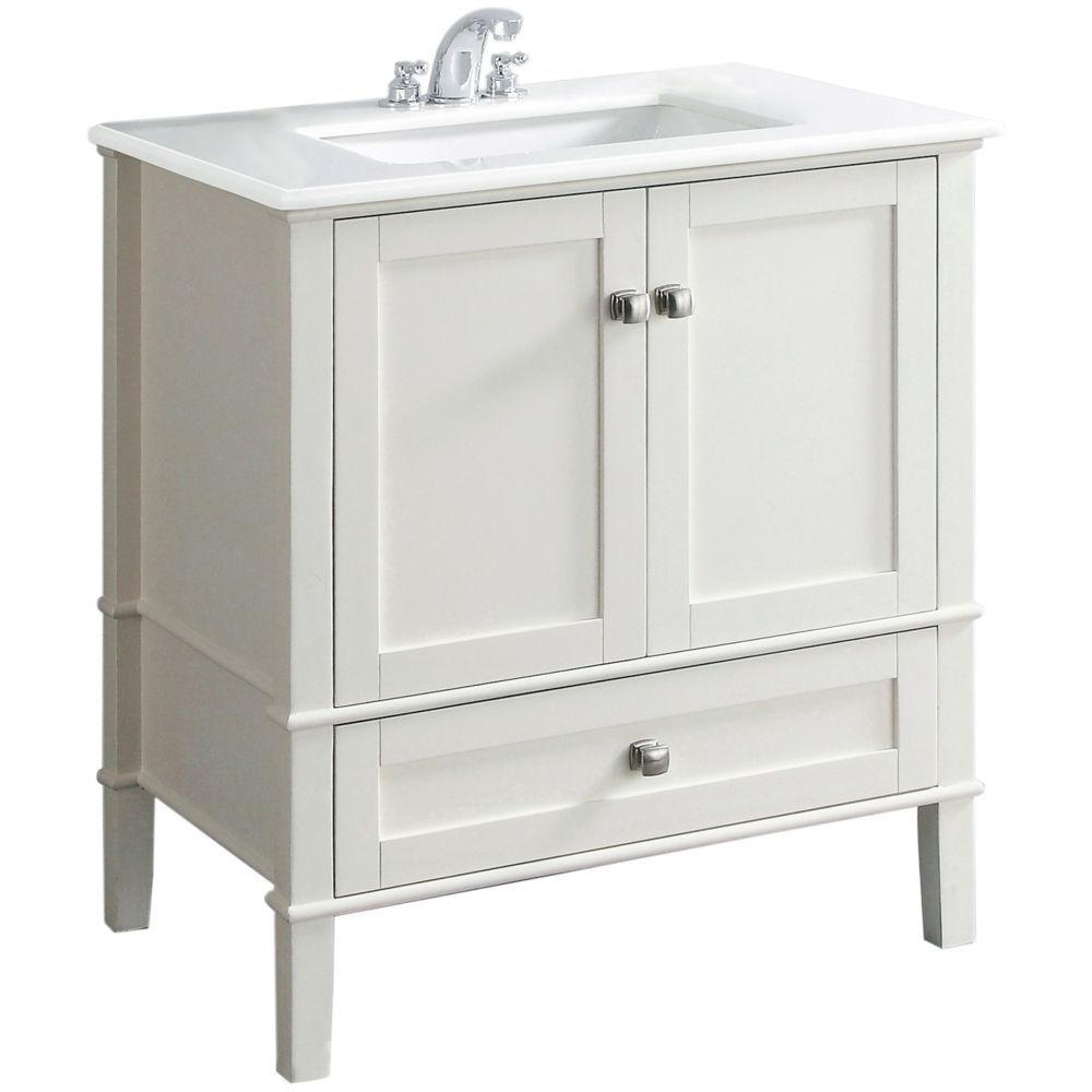 Chelsea 30Inch W Vanity In White Finish With Quartz Marble Top Extraordinary 30 Bathroom Vanity With Top Decorating Inspiration