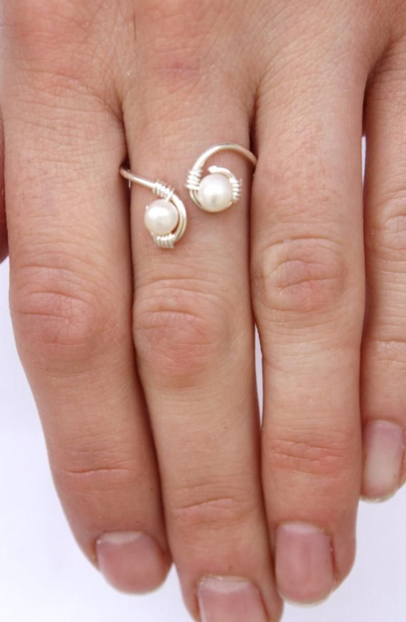 Photo of Pearl and Sterling Silver Wire Wrapped Ring, Feminine, Delicate, Wedding
