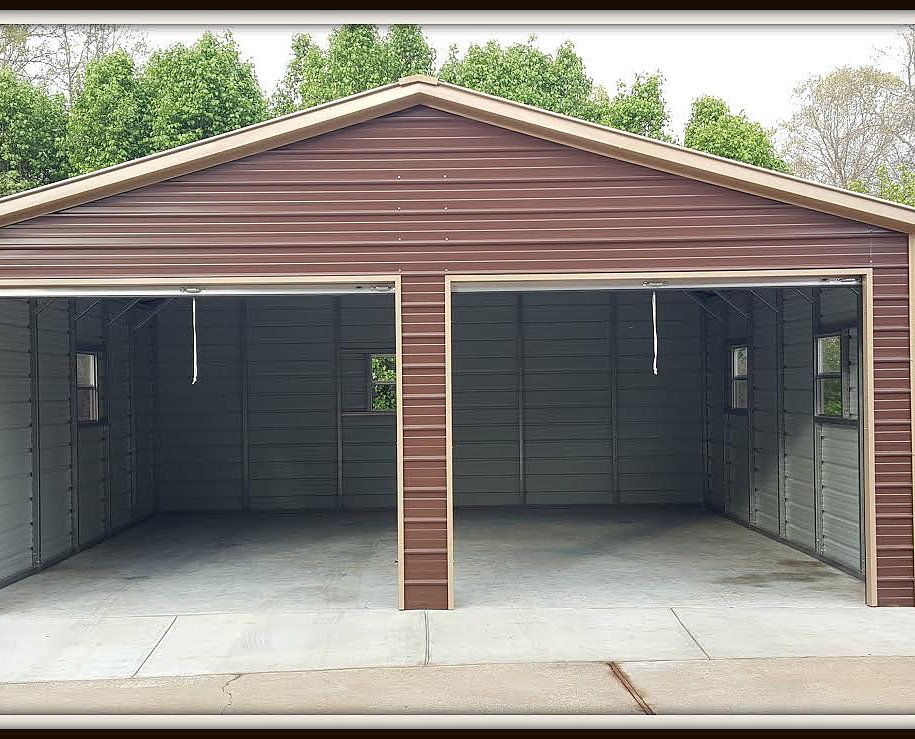 14 24 Wx26 Lx9 H Garage Vertical Roof Elite Metal Structures Metal Garage Buildings Garage Door Styles Garage Door Types