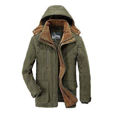 AFSJEEP Winter Thicken Warm Multi Pockets Solid Color Detachable ...
