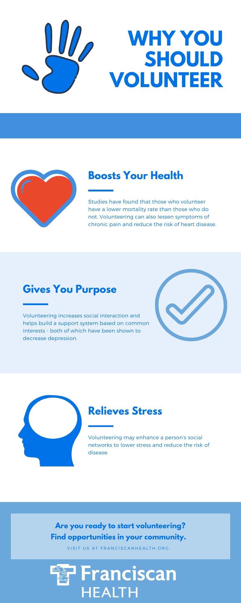 4 Health Benefits Of Volunteering Infographic Health Healthcare Careers How To Relieve Stress