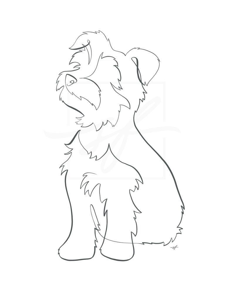 Yorkie Minimalist One Line Drawing Etsy In 2020 Dog Line Art Line Art Drawings Dog Tattoo
