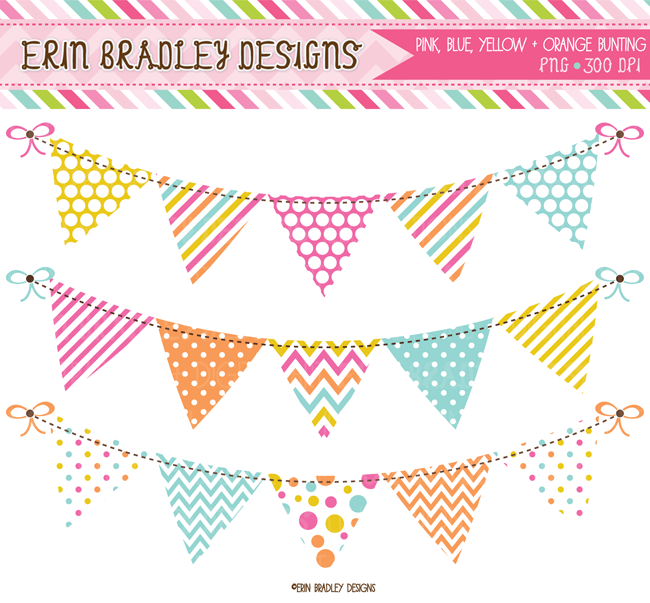 Instant Download Pink Yellow Blue Orange Banner Flag Bunting Commercial Use Clipart Graphics Banner Clip Art Clip Art Digital Banner