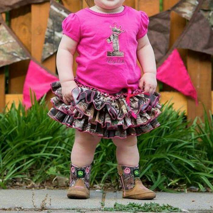 Pink Shirt And Camo Skirt First Birthday Outfit With Cowgirl Boots Baby GirlsBaby