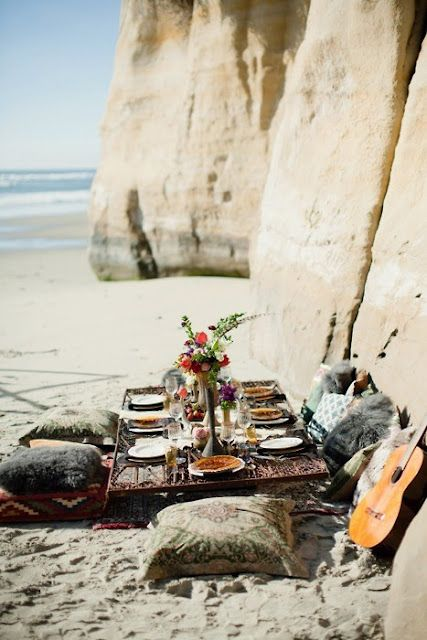 picnic on beach at bottom of cliff!!