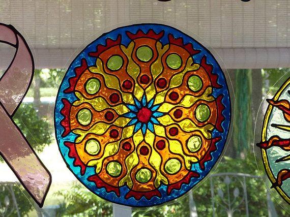 bright colors mandala window cling  mandalas coole ideen