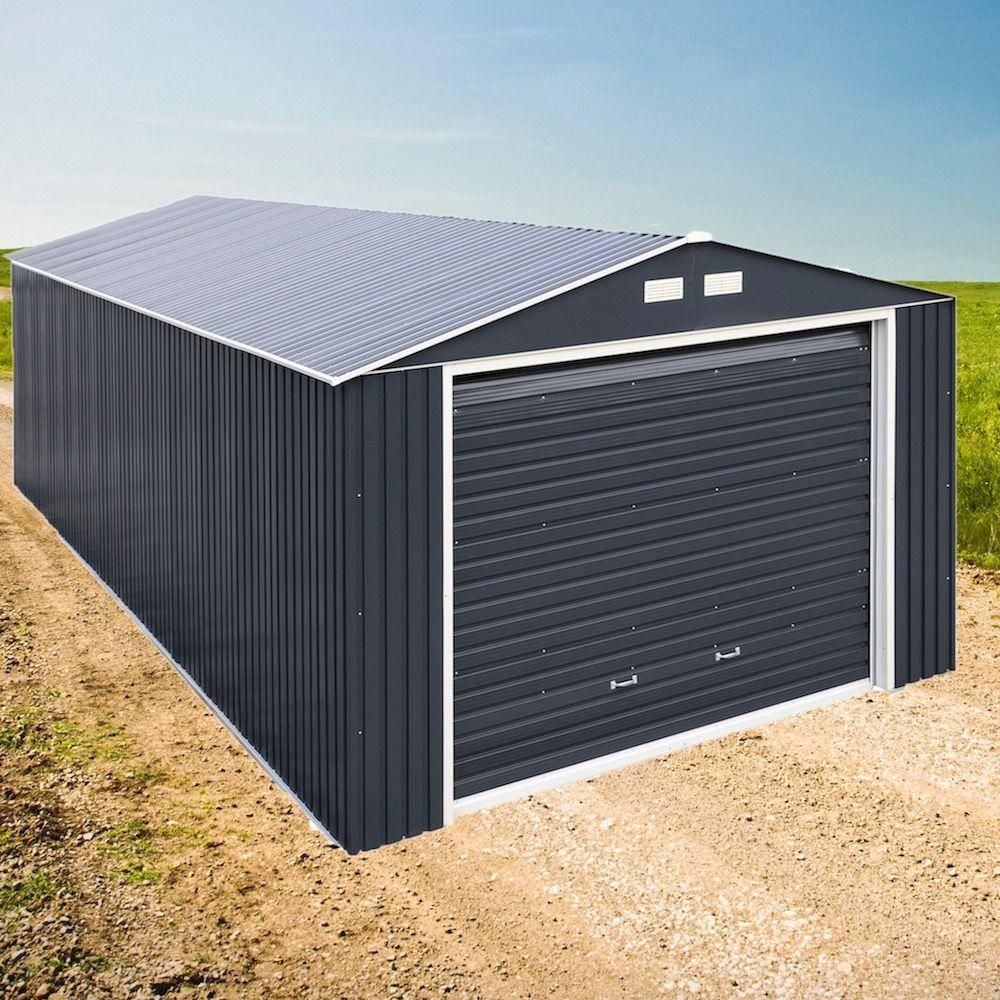 Duramax Building Products Imperial 12 Ft X 20 Ft Metal Garage Shed In Dark Grey With White Trim 50951 The Home Depot Metal Garages Metal Buildings Metal Building Designs