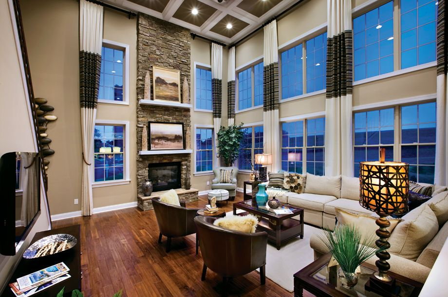 2 Story Family Room Decorating Ideas Part - 28: Toll Brothers 2-Story Family Room - Curtain Rods All Around To Close Even  The