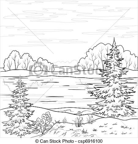 Black And White River Clip Art Stock Clip Art Icon Stock Clipart Icons Logo Line Art Coloring Pages Nature Colorful Landscape Coloring Pages