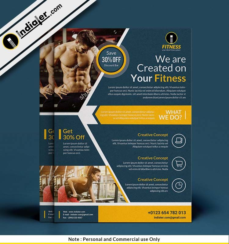Free Weight Training Fitness Flyer Psd Template Fitness Flyer