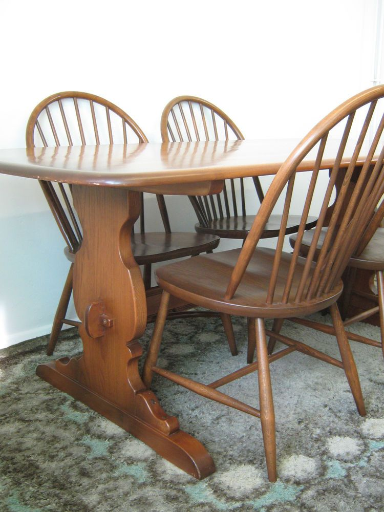 Ercol Dining Table & Windsor Chairsplank Table In Golden Dawn Delectable Second Hand Ercol Dining Room Furniture Design Ideas