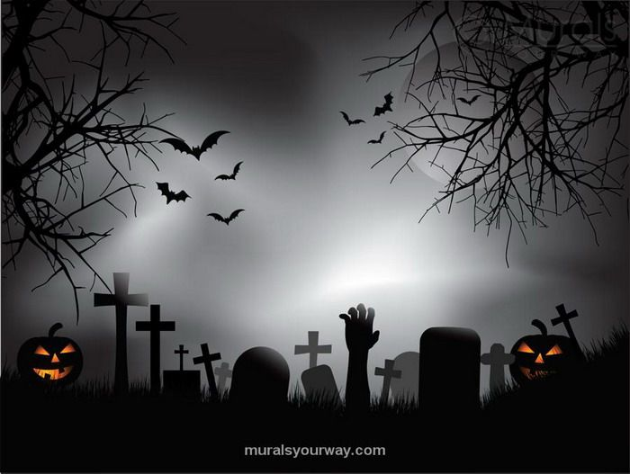 Zombie Graveyard Wall Mural Halloween Wallpaper Halloween Backdrop Halloween Images