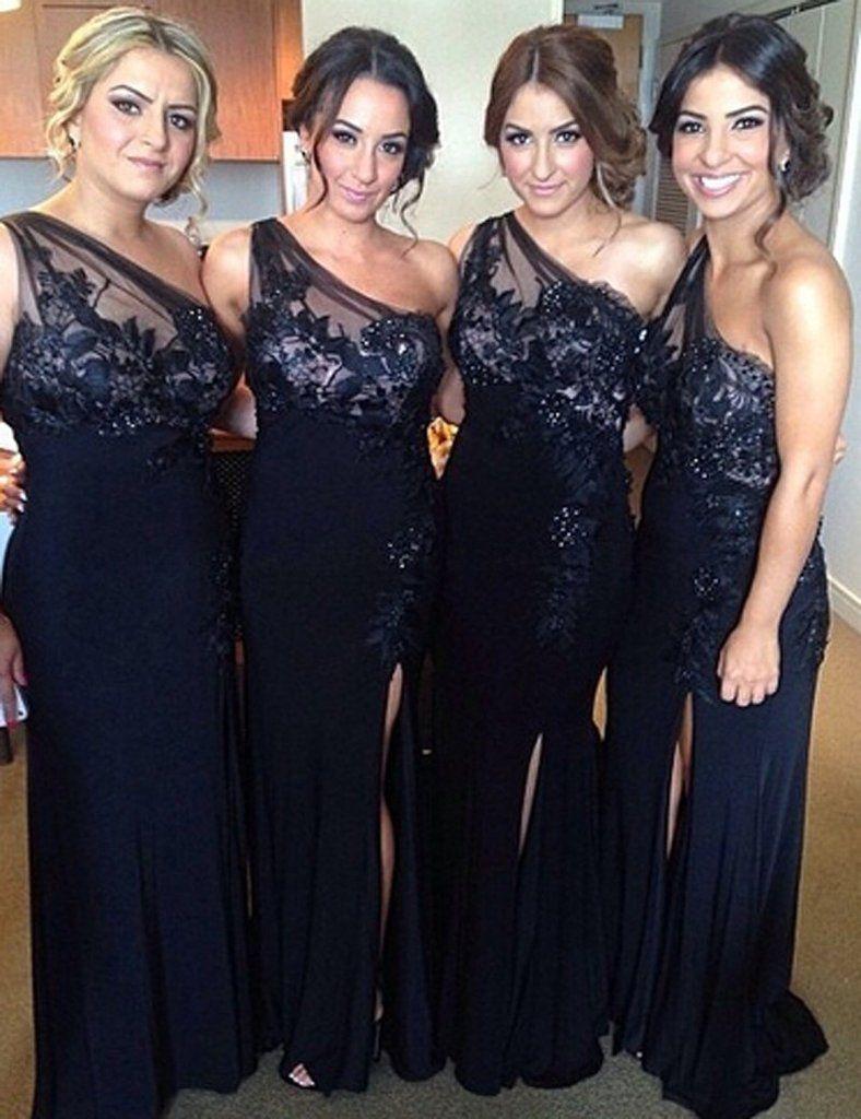 Black bridesmaid dress oneshoulder bridesmaid dresslace top