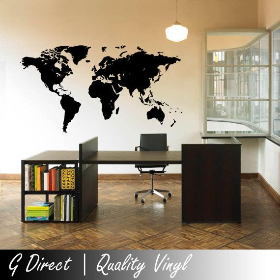 Map Of The World Wall Sticker Vinyl Decal Home Mural Giant Graphic Transfer  Art