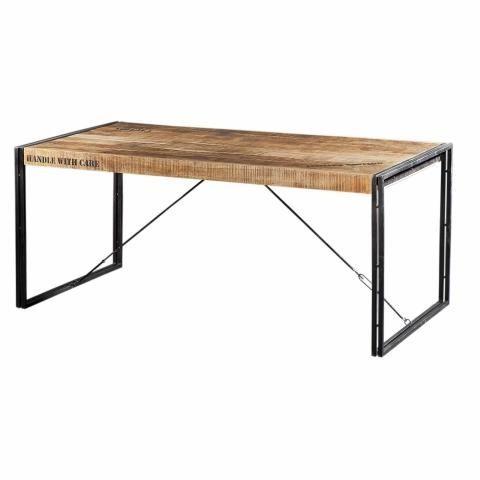 Table Repas Metal Et Bois Factory 140 Cm Table Table Bois Meuble Maison