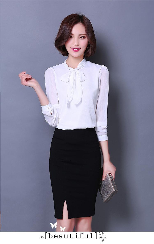 Primavera mulheres chiffon tops blusa 2016 moda arco elegante longo manga Plus size mulheres roupas em Blusas de Roupas e Acessórios no AliExpress.com | Alibaba Group