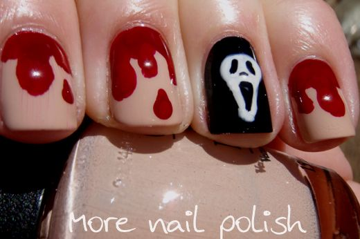 Ghost Face Nails Halloween Nails Easy Nail Art