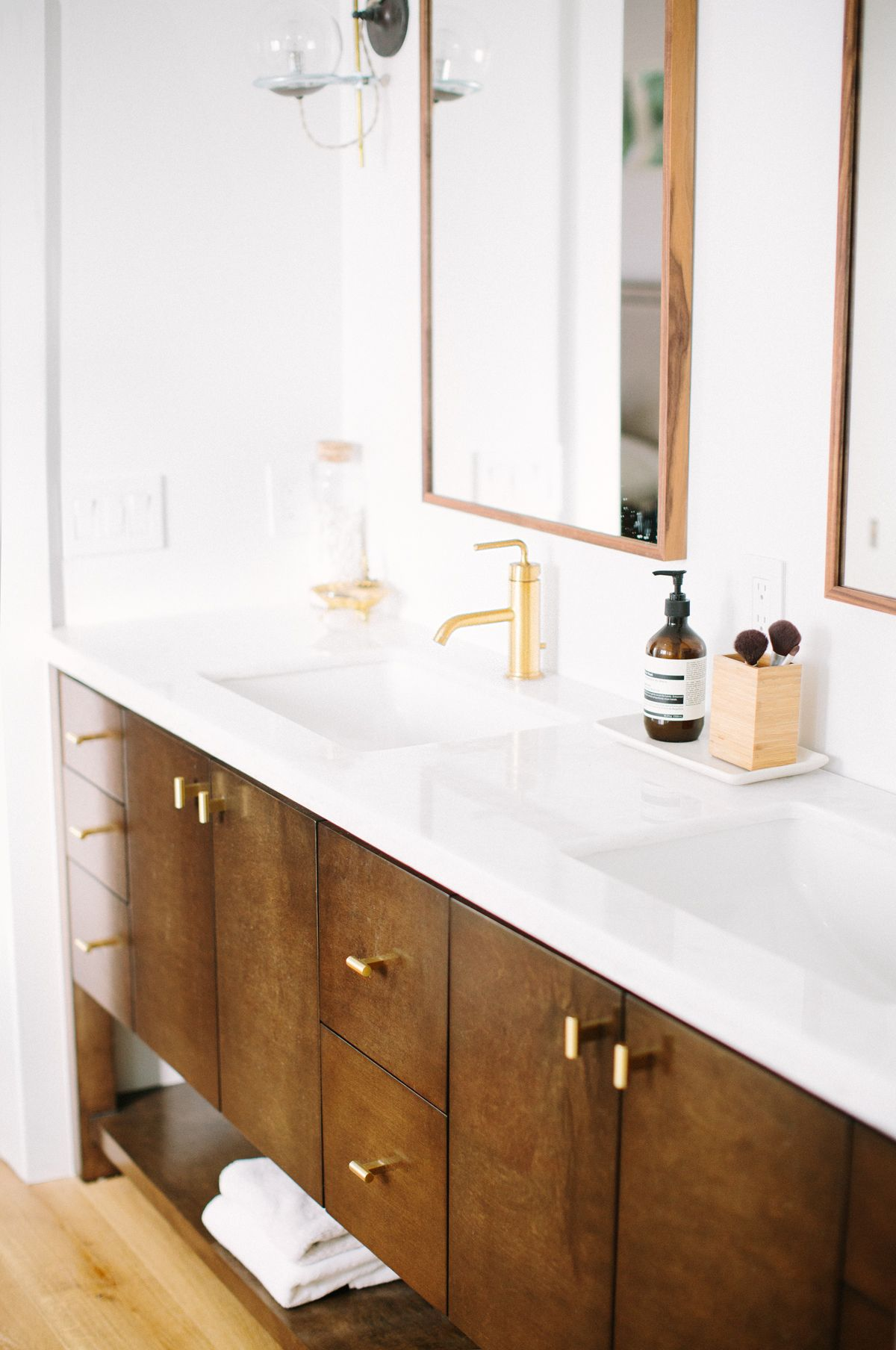 Custom mid-century modern wood bathroom vanity designed by Carly ...