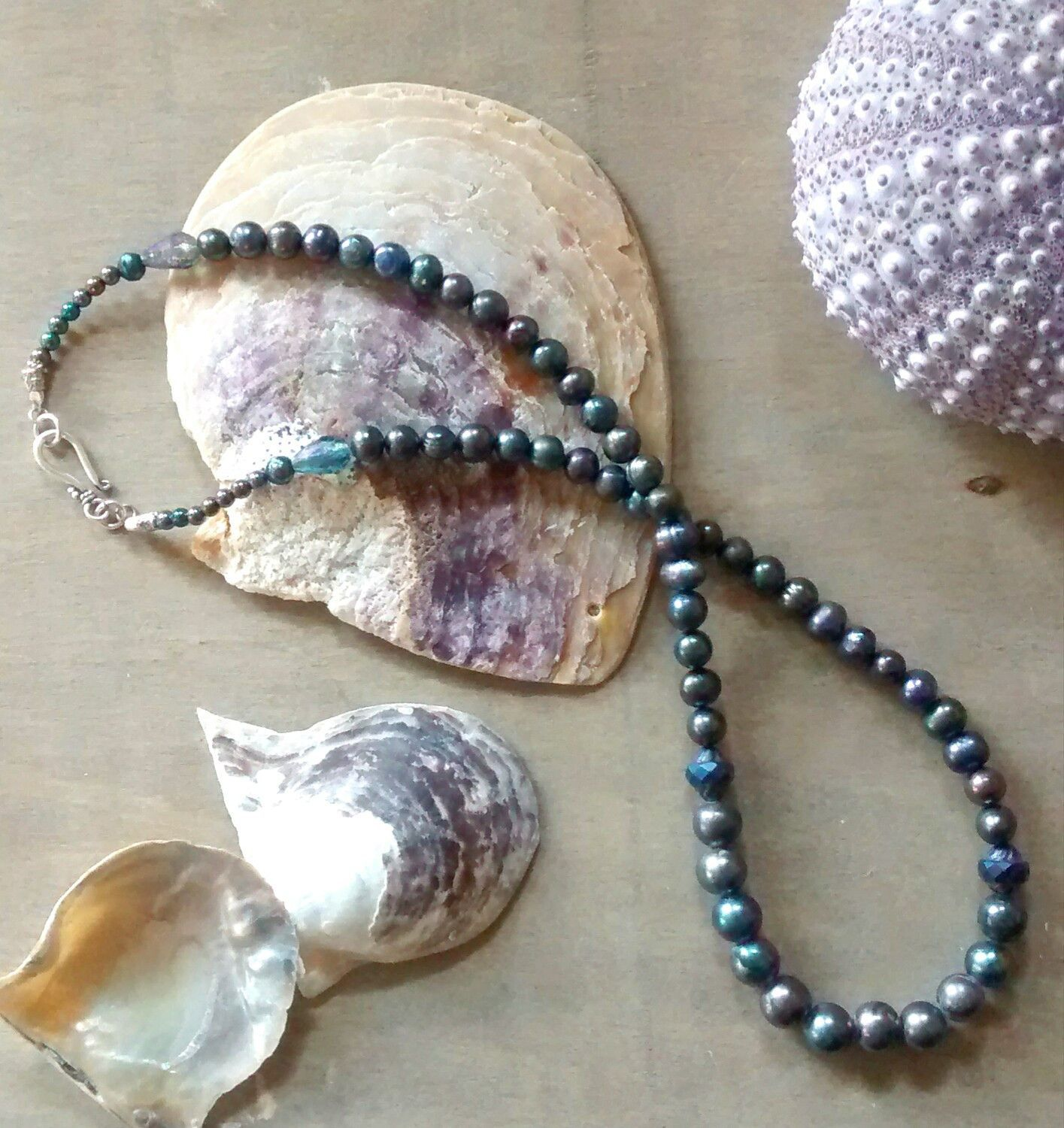 pearls leather pin water genuine yevga boho gift for salt dark simple jewelry her tahiti surf necklace tahitian sea