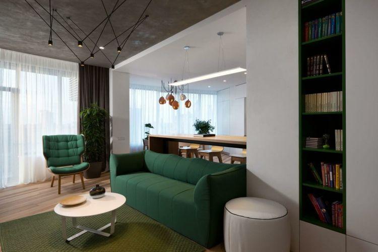 farbe grün regal-akzent-schrank-weiss-hochglanz Wohnideen - wohnzimmer farbe grun