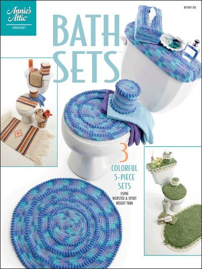 Bath Sets Technique Crochet Here Are Three Colorful 5 Piece Sets