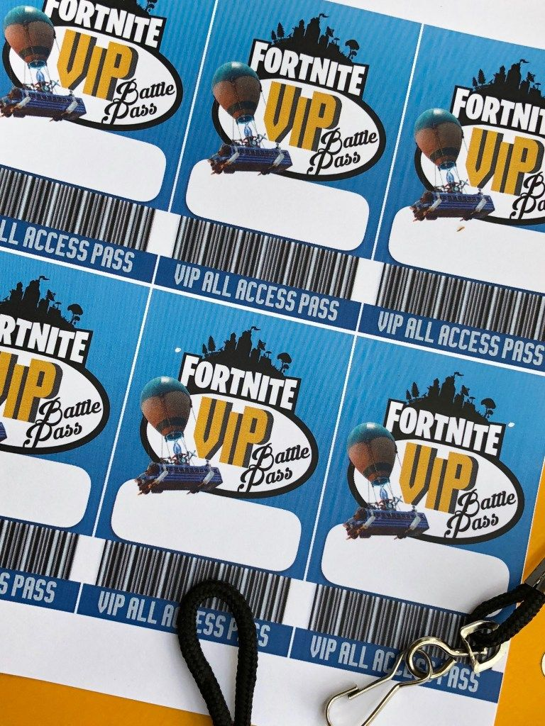 Free fortnite printable birthday vip party pass hatters