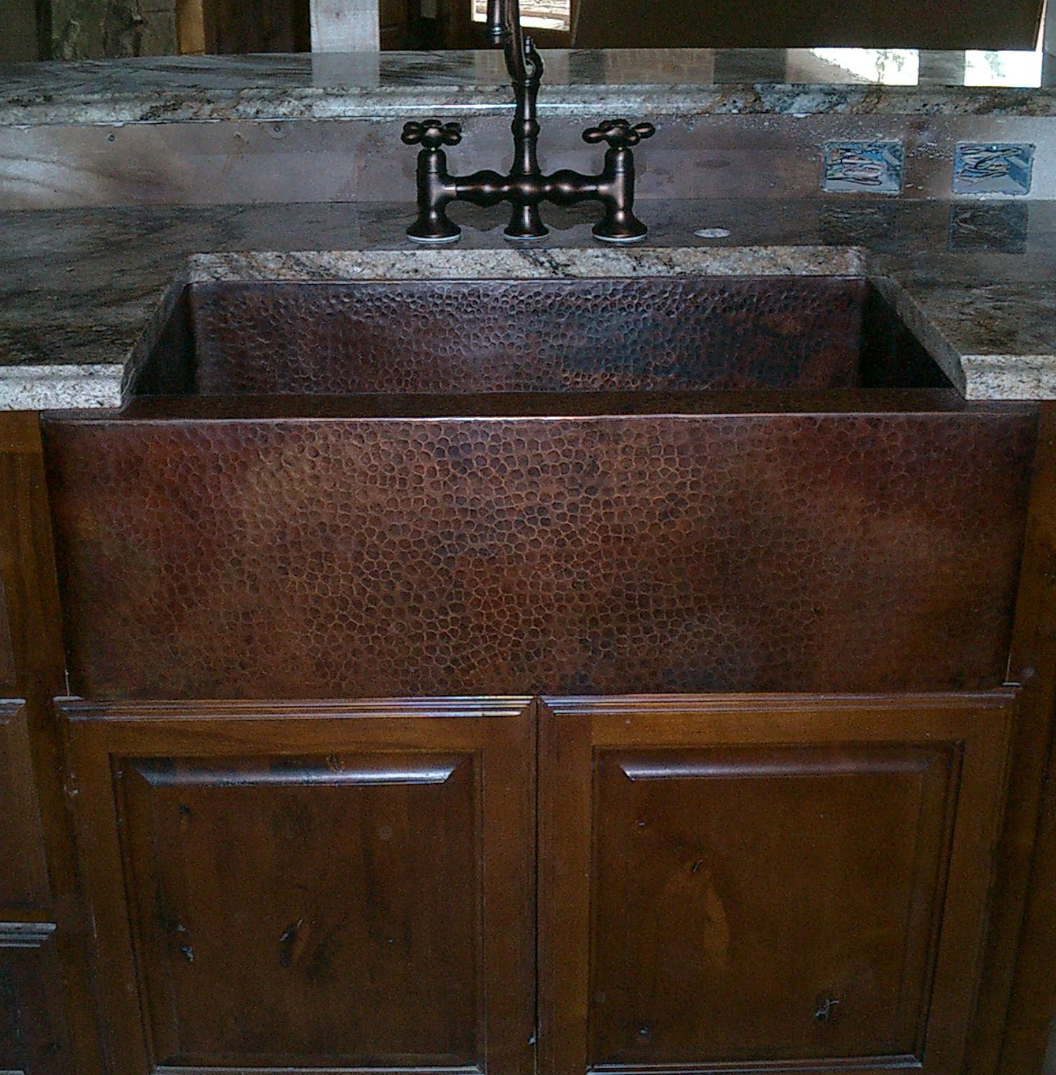 Jim Gu0027s Hammered Copper Farmhouse Sink, With Wood Cabinets And Oil Rubbed  Bronze Faucet!