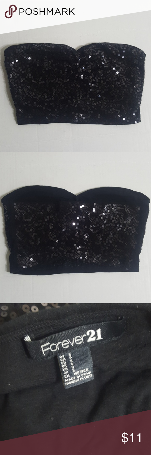 Medina Crop Top: Forever 21 Top Black Size S Sequence Tupe Top Armpit To