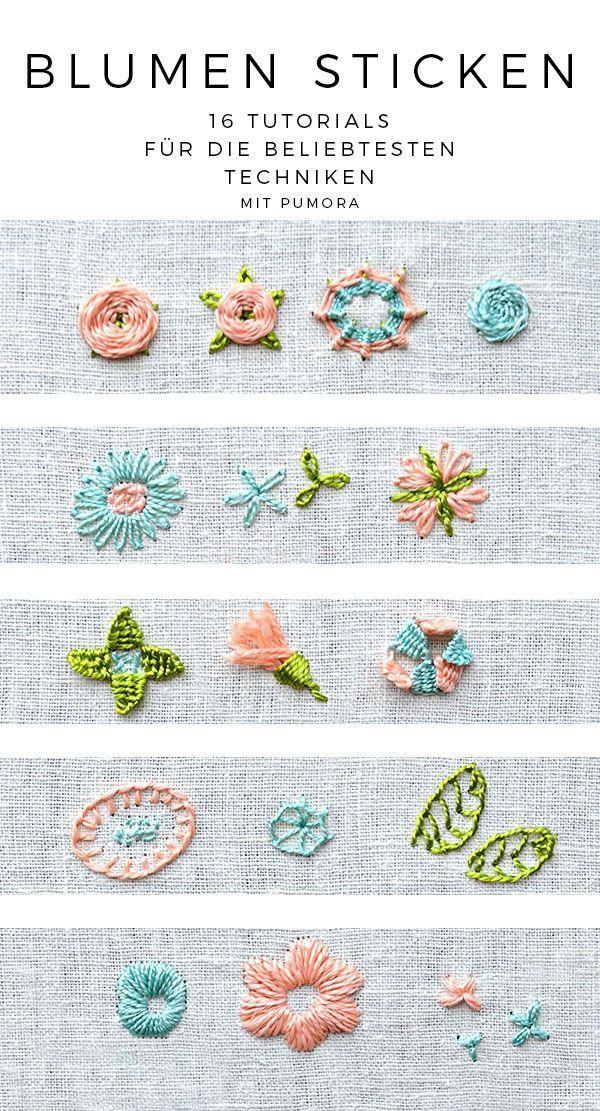 Photo of Blumen sticken – 16 Tutorials zum Sticken lernen – Pumora