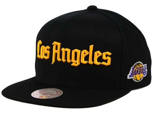 brand new 08cdf 4abad ... low cost los angeles lakers mitchell and ness nba gothic city snapback  cap hats 32da6 3f74c