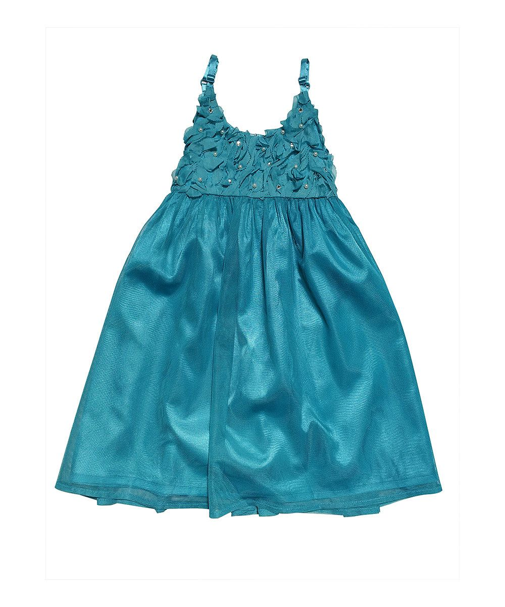 5e366c5a146 Love this Mini Treasure Kids Turquoise Rosette Pearl Dress - Toddler    Girls by Mini Treasure Kids on  zulily!  zulilyfinds.  52.99