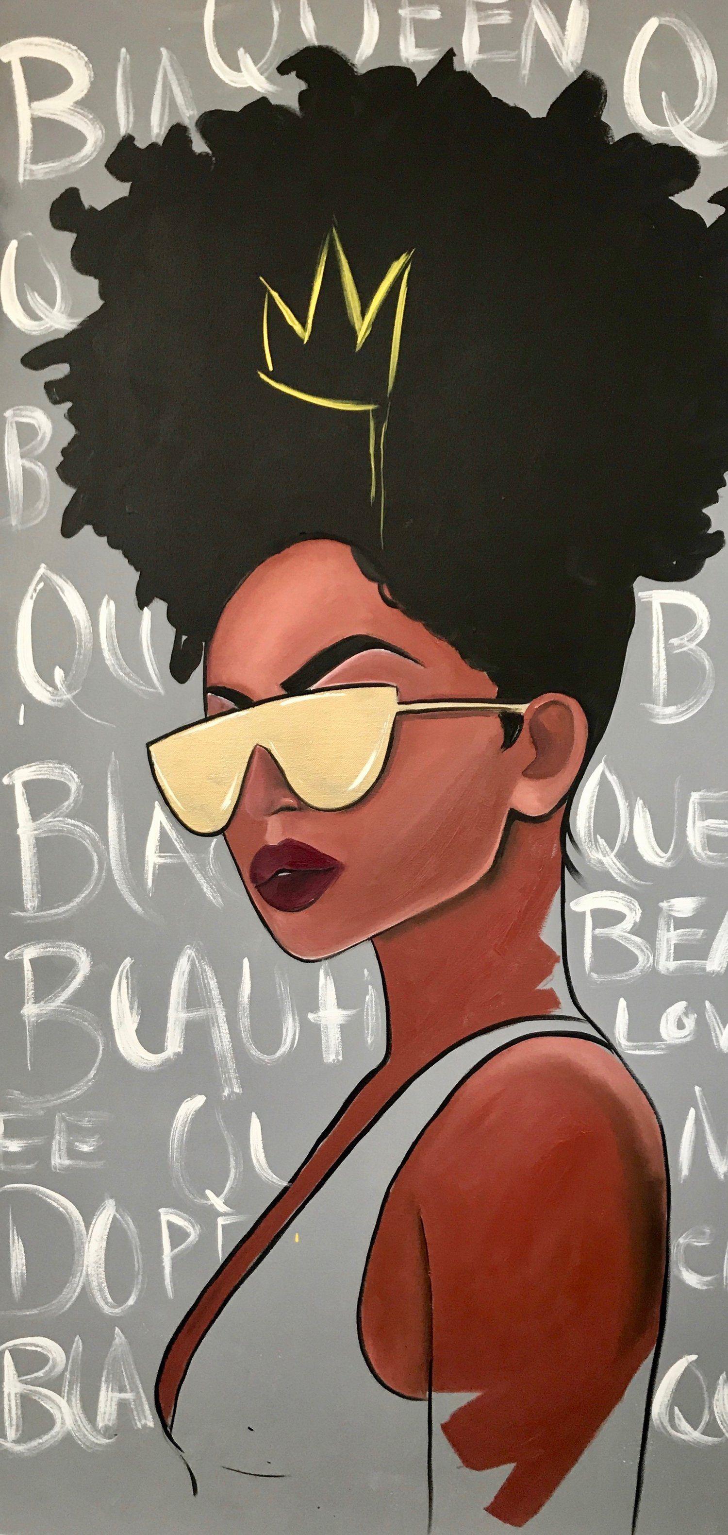 Image of Black Queen Black art painting, Black girl