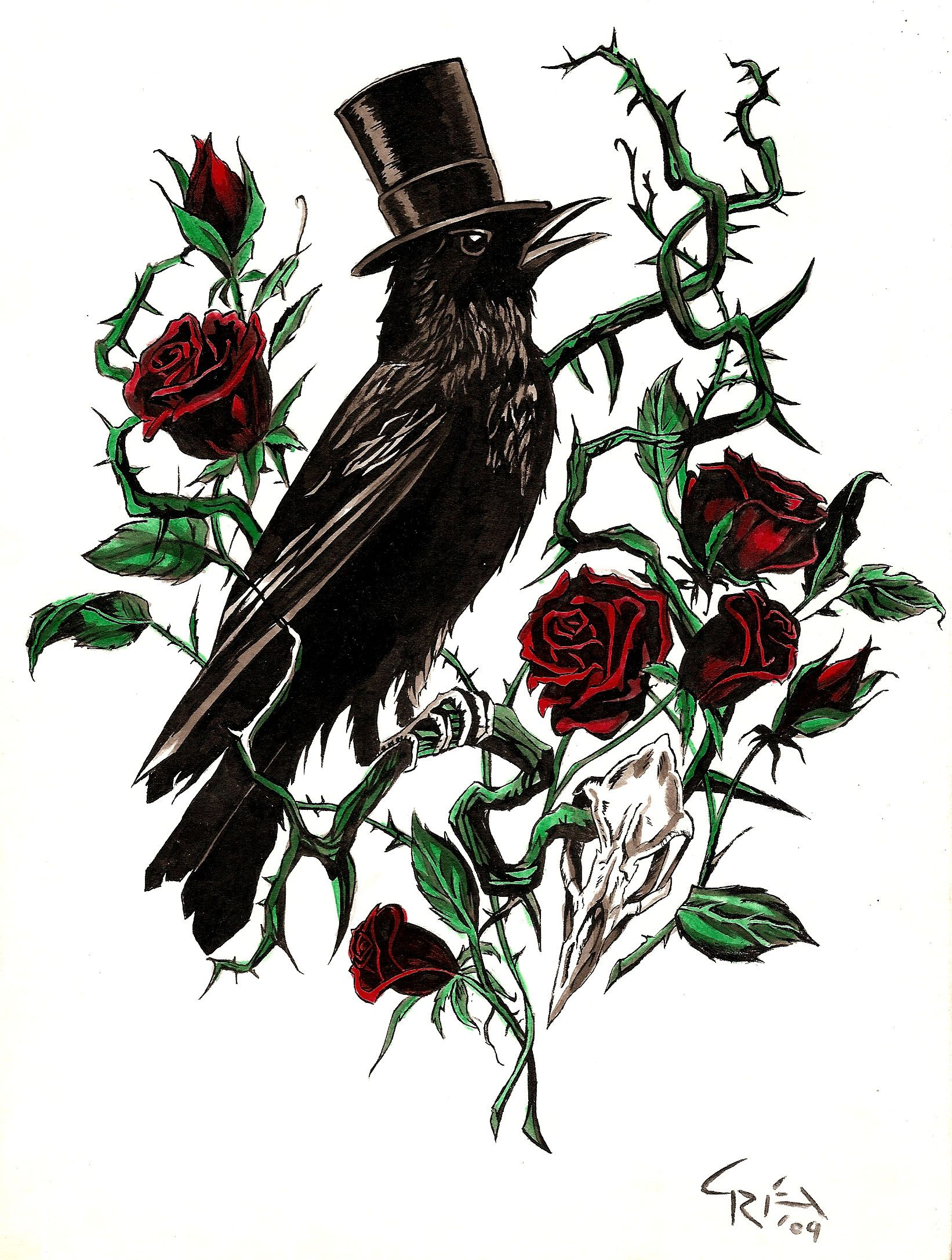 Crow and rose thorn caw caw pinterest rose thorns for Rose with thorns tattoo