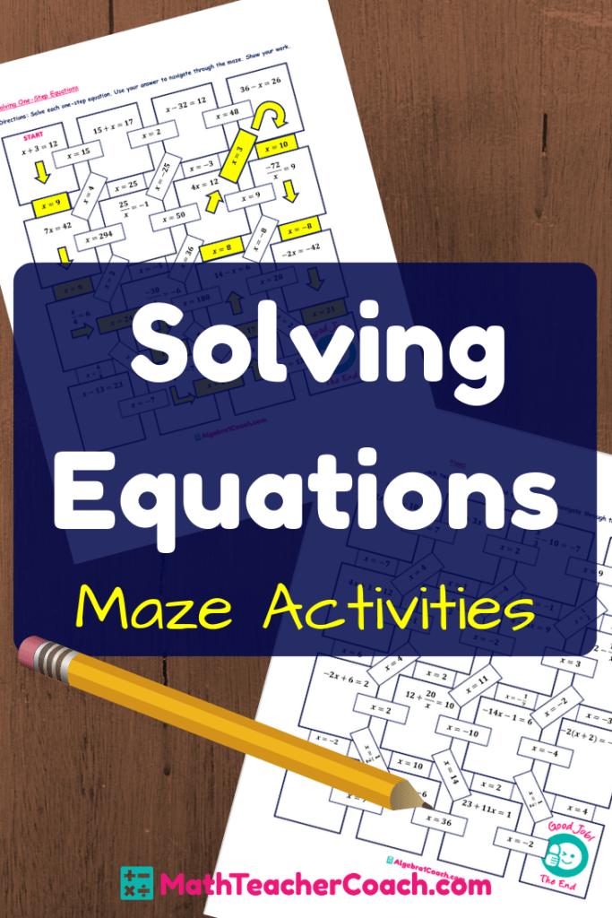 Maze Solving Equations Activities Solving equations