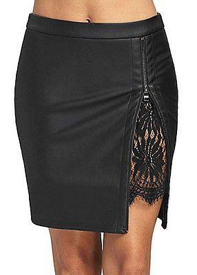 c0ea31b85c Styleboom Fashion Damen Fake Leather Skirt Zipper schwarz | моде ...