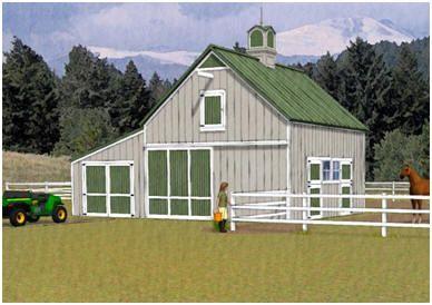 Chestnut Two Stall Horse Barn Garage Plans Barn Garage Plans Barn Plans Barn Garage
