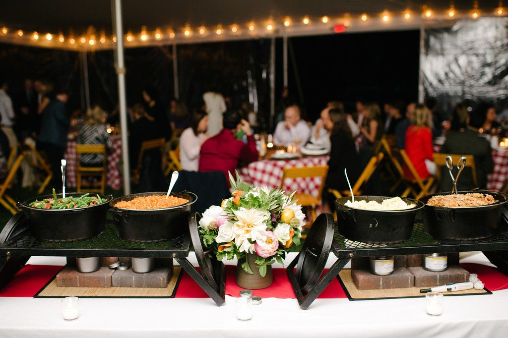 Buffet With Cast Iron Pots Bbq Exchange Photo Sarah Cramer Shields Event Food Wedding Catering Cost Catering