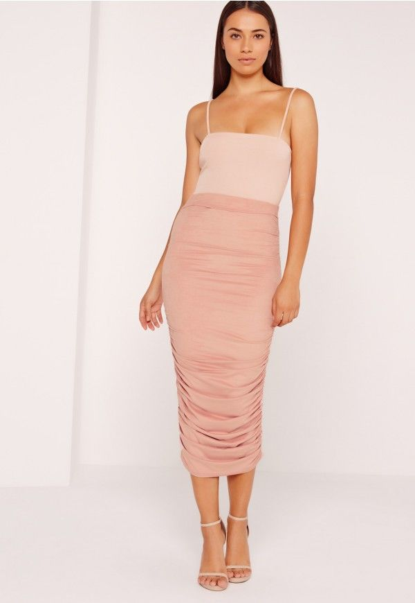 fc4b5f9b0 Ruched Side Faux Suede Midi Skirt Pink - Missguided | MISSGUIDED ...