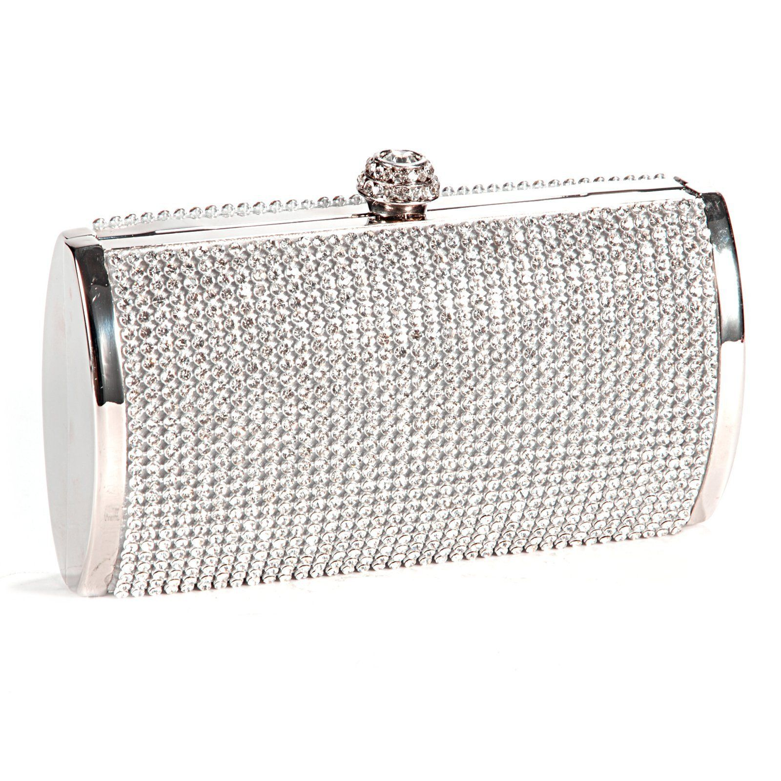 Minaudiere Bridal Satin Evening Bags Women Clasp Handheld Glitter Wedding Clutch