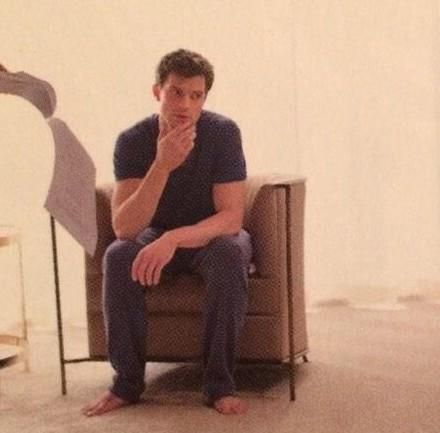 The way he's looking at Ana. And he's barefoot #FiftyShades