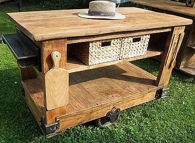 Distressed Natural Oak Industrial Warehouse Cart Kitchen Island Alluring Rustic Kitchen Cart Design Inspiration