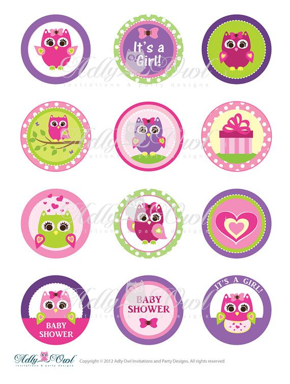 Pink Or Purple Girl Owl Baby Shower Cupcake Toppers Or Favor Tags  Printables DIY, Itu0027s A Girl Owl Tags   ONLY Digital File   You Print