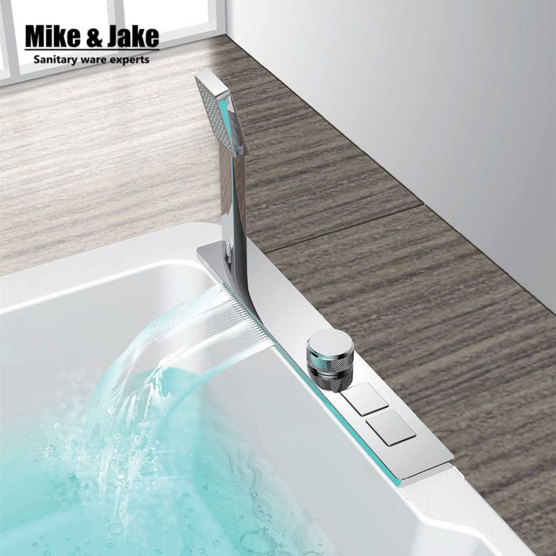 New Chrome bathtub faucet bath mounted with press button two ...