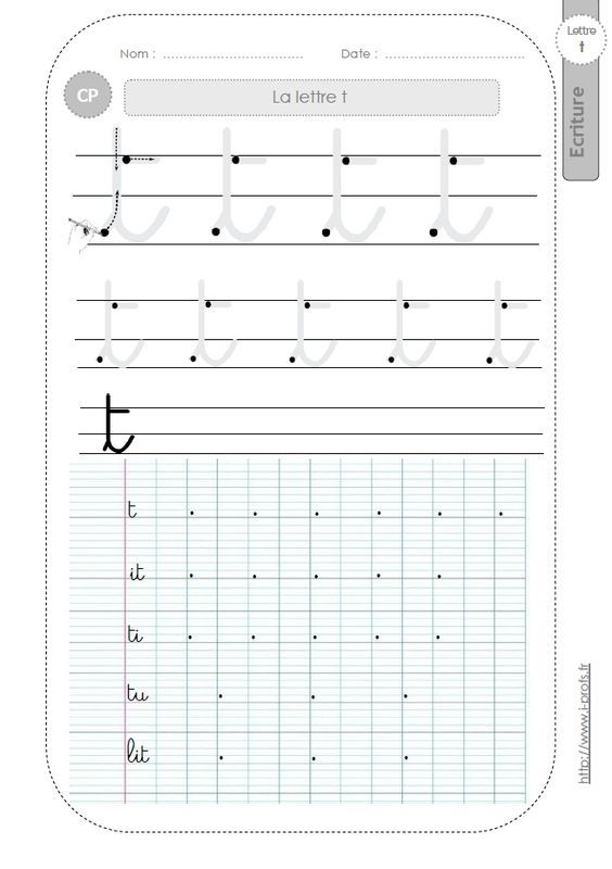 Célèbre la lettre t au CP:FICHES d'ECRITURE. Modèles d'écriture | école  AK61