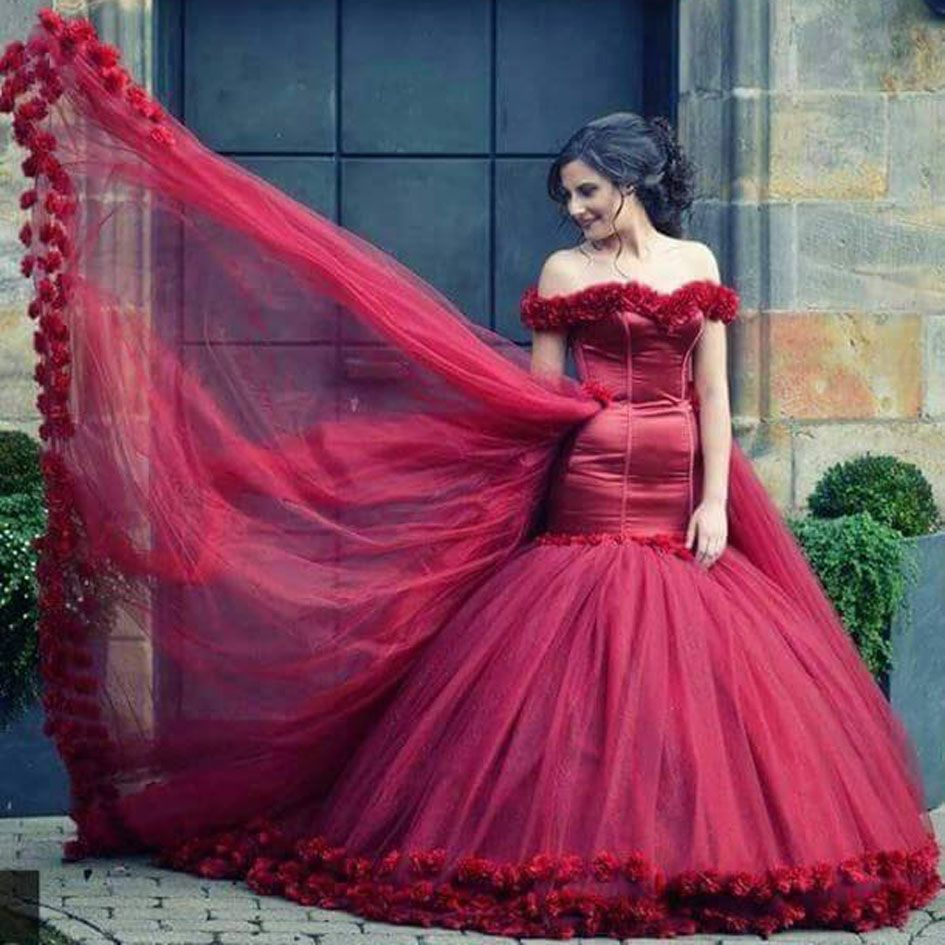 Click to buy ucuc fashion burgundy off the shoulder sweetheart flowers